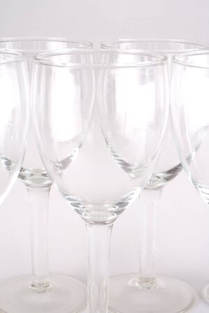 three wineglasses grouped and isolated on grey background Stock Photo - 5465209