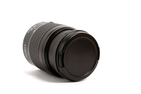 eos: black lens with cover isolated on white background