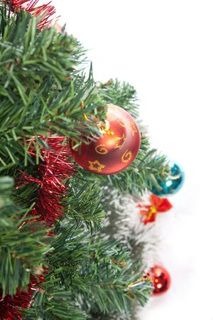 christmas tree with decorations isolated on white background Stock Photo - 5587200