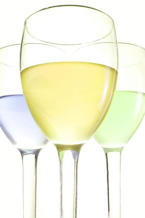 three glasses with blue green and yellow drinks Stock Photo - 5691881