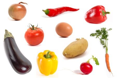 different vegetables isolated on white background photo