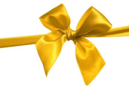 yellow ribbon and bow isolated on white background Stock Photo