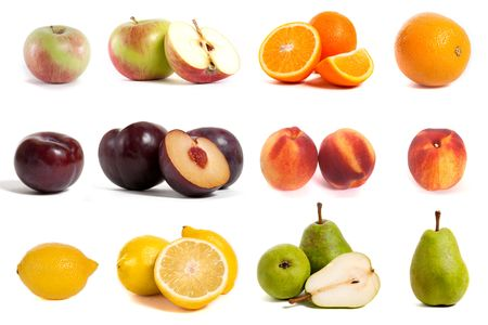 collage with different sorts of fruits