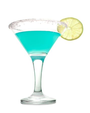 blue cocktail with slice of lime isolated on white Stock Photo