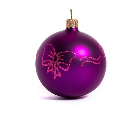violet xmas ball isolated on white photo