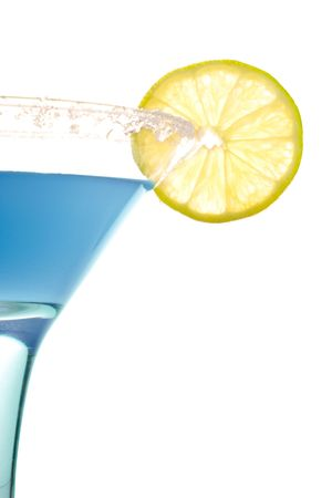 blue cocktail with lemon isolated on white background photo