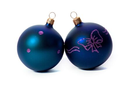 blue christmas balls isolated on white background Stock Photo - 5938938