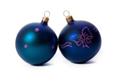 blue christmas balls isolated on white background Stock Photo - 5938938
