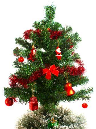 decorated christmas tree isolated on white background photo