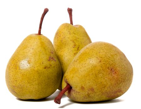 three ripe pears isolated on white background photo