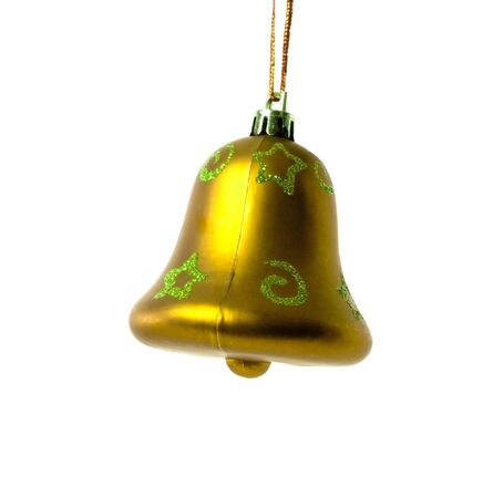 goldy christmas bell isolated on white background Stock Photo - 5968263