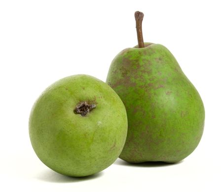 two ripe pears isolated on white background photo