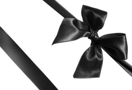 black ribbon bow: black ribbon and bow isolated on white background Stock Photo