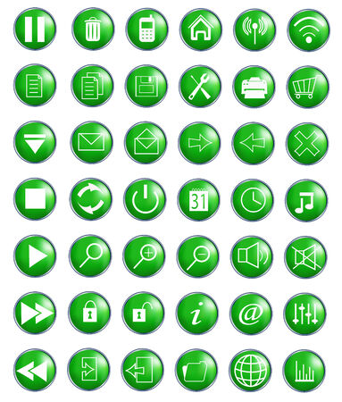 Glossy Icon Set for Web Applications - Vector Stock Vector - 6063118