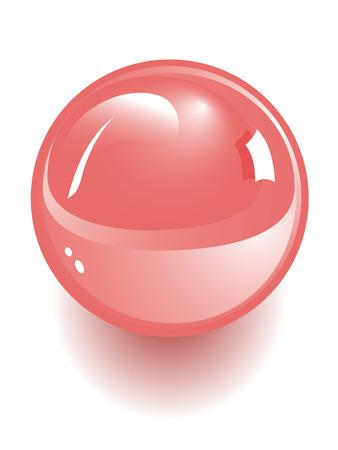 red sphere: sfera di vettore rosso isolata on white Vettoriali
