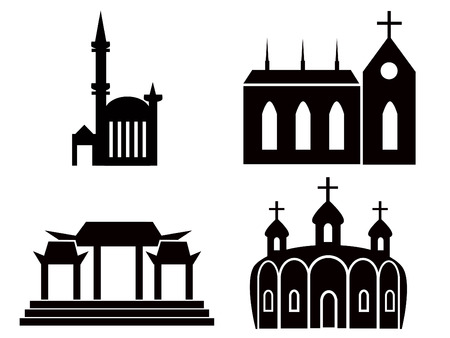 various temple and church illustrations Vector
