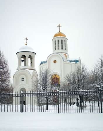 orthodox cathedral covered by hoarfrost in Saint-Petersburg photo