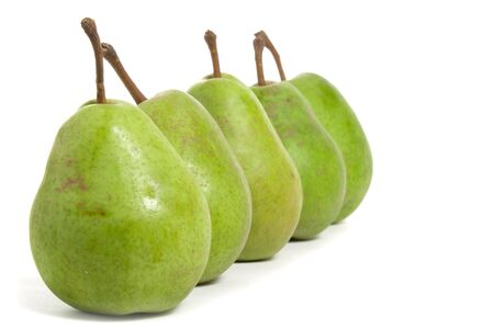 four pears in a row isolated on white background Stock Photo - 6208677