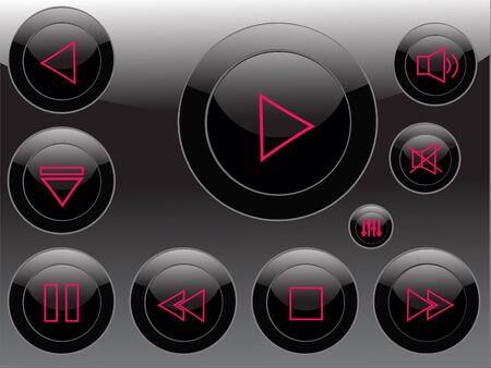 vector audio video control buttons Vector