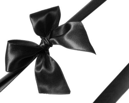 black ribbon: black ribbon and bow isolated on white background Stock Photo