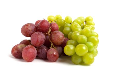 red  green: red and green grape isolated on white Stock Photo