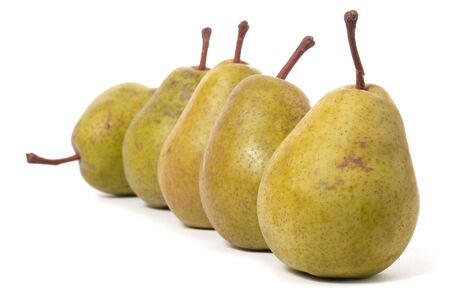 pears in a row isolated on white background Stock Photo - 6712900