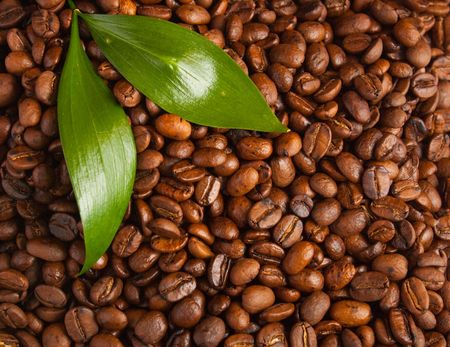 coffe beans and leafs. background Archivio Fotografico