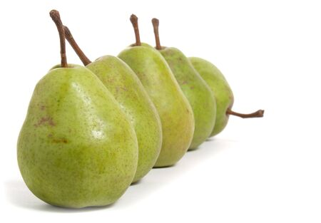 pears in a row isolated on white background Stock Photo - 6712915