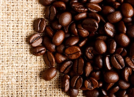 coffe beans on textile Stock Photo - 7596026