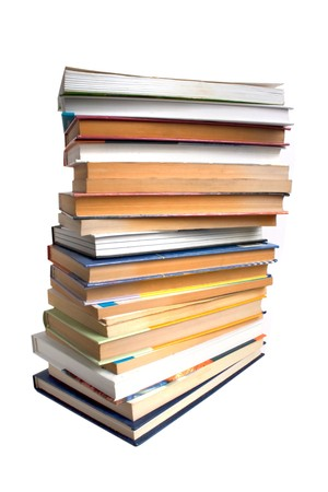 tomes: stack of books isolated on white Stock Photo