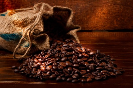 coffee on wooden table photo