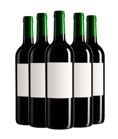 five bottles of wine isolated on white background Stock Photo