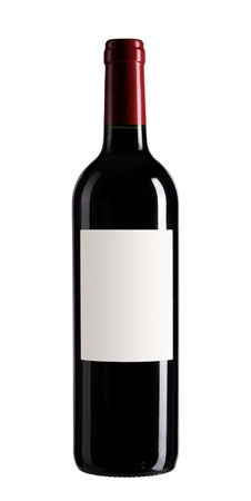 red and white wine: bottle of wine isolated on white background