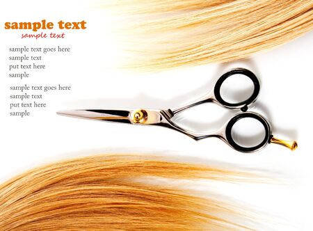 salon background: scissors and lock of hair isolated on white Stock Photo