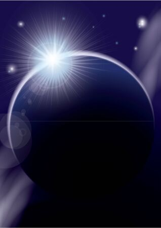 Rising Sun over the planet. Illustration illustration