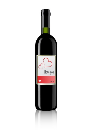 bottle of wine with valentines day label.  Vector
