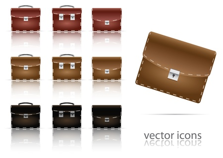 set of icons of briefcase.  Vector