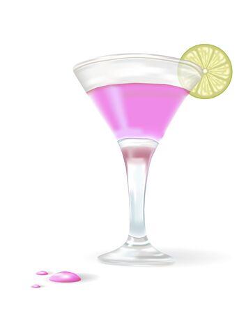 stirring: pink cocktail with lemon slice. illustration