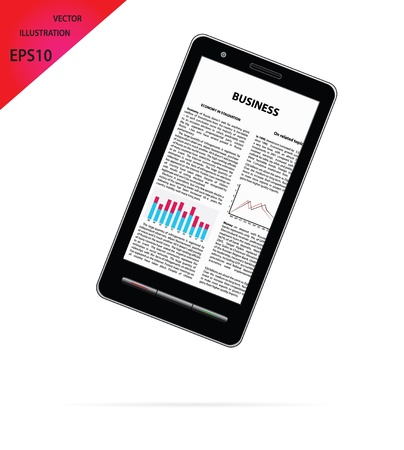 article: smartphone with business article.  Illustration
