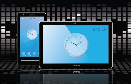 tablet pc and cell phone.