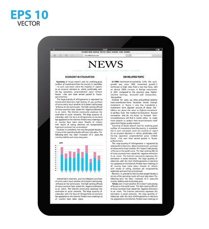 tablet pc with news. Vector