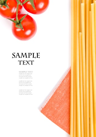 spaghetti and tomatoes on white background