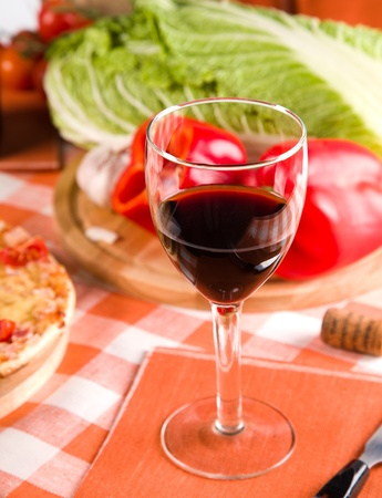 glass of red wine and food Stock Photo - 11658335