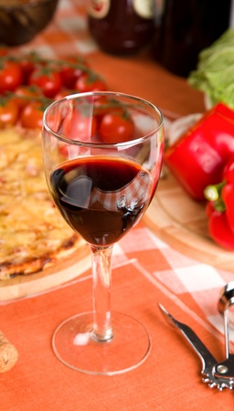 glass of red wine and food Stock Photo - 11658333