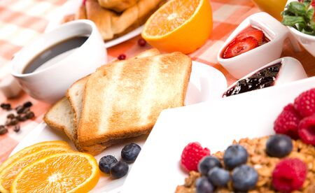 breakfast with toasts jam and fruits Stock Photo - 11658857
