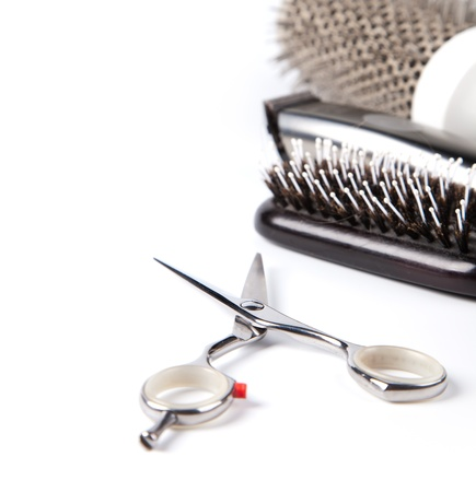 combs: scissors and combs on white Stock Photo