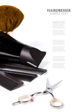 haitdresser scissors,  combs and brush on white background