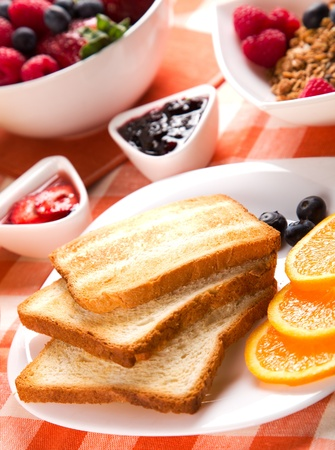 breakfast with toasts jam and fruits Stock Photo - 11814320