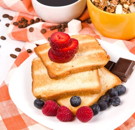breakfast with toasts coffee and fruits Stock Photo - 11814348