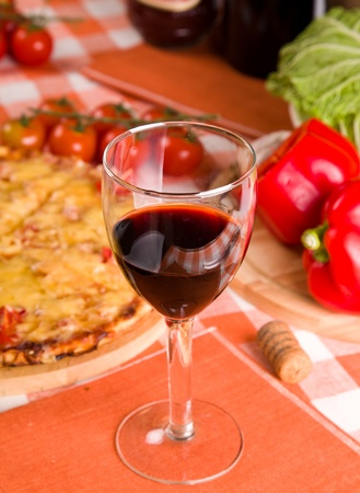 glass of red wine and food Stock Photo - 11882447